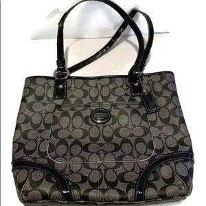 black and gray coach purse